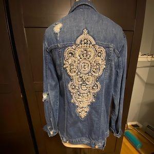 Pearl embellished oversized denim jacket